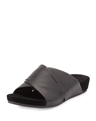 Hippie Crisscross Low-Wedge Slide, Black