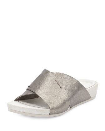 Hippie Crisscross Low-Wedge Slide, Pewter