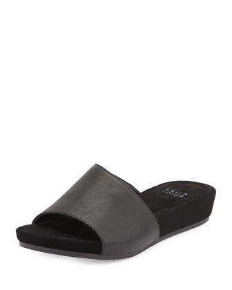 Heaven Leather Low-Wedge Slide, Black