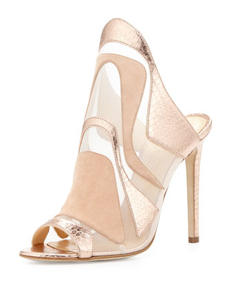 Metallic Mesh Watersnake High Heel Slide, Nude