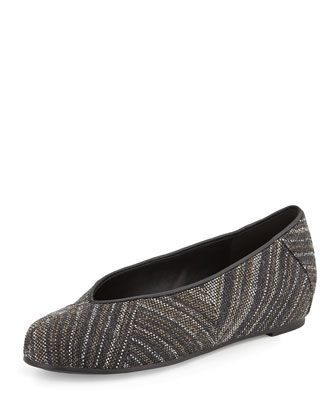 Quilt Striped Canvas Ballet Flat, Black
