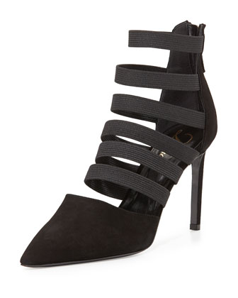 Bae Strappy Point-Toe Bootie, Black