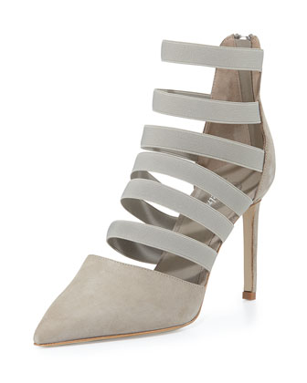 Bae Strappy Point-Toe Bootie, Putty