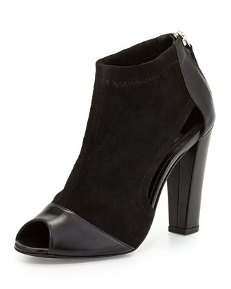 Drea Suede Back-Zip Bootie, Black