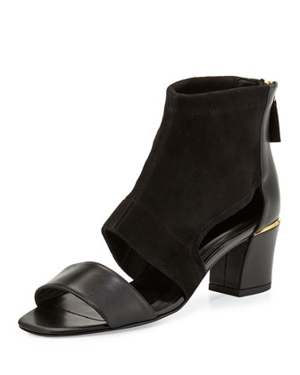 Kara Stretch-Suede Sandal, Black