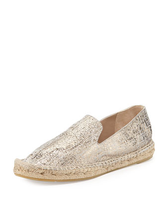 Percy Metallic Flat Espadrille, Putty
