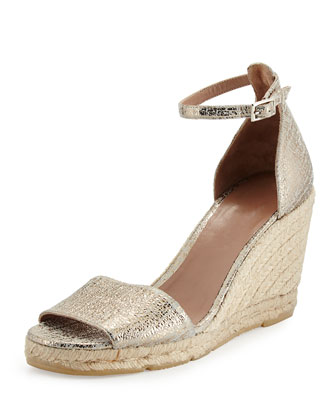 Tira Metallic Espadrille Wedge, Putty