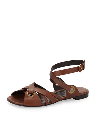 Crisscross Leather Ankle Strap Flat Sandal