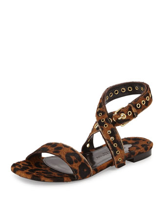 Leopard-Print Calf Hair Sandal, Tan