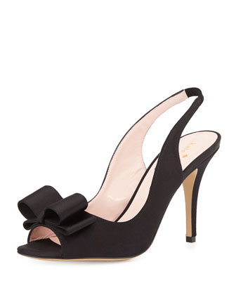 celeste satin slingback pump, black