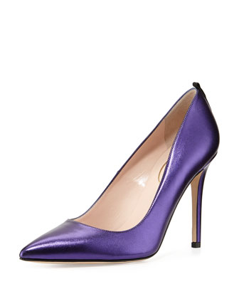 Fawn Metallic Point-Toe Pump, Blue