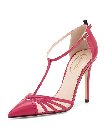 Carrie Leather T-Strap Pump, Fuchsia