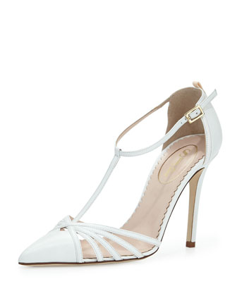 Carrie Leather T-Strap Pump, White