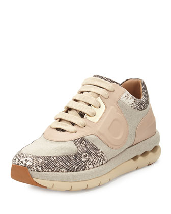 Morgan Linen & Leather Sneaker, Cream