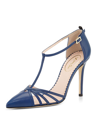 Carrie Leather T-Strap Pump, Blue