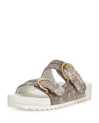 Moro Snake-Embossed Leather Sandal, Roccia