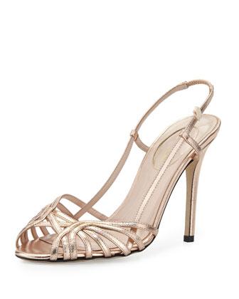 Sophia Metallic Slingback Sandal, Rose Gold