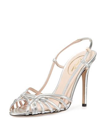 Sophia Strappy Slingback Sandal, Argento Silver