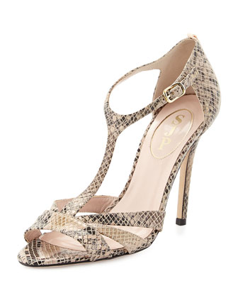Desiree Snake-Print T-Strap Sandal, Sable