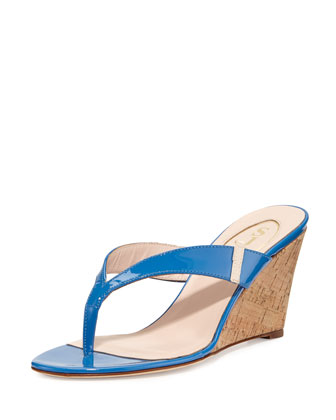 Raquel Patent Wedge Sandal, Blue