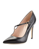 Diana Asymmetric Leather Pump, Black