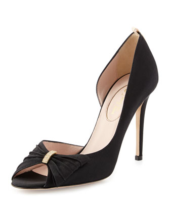 Doris Grosgrain Half d'Orsay Pump, Black