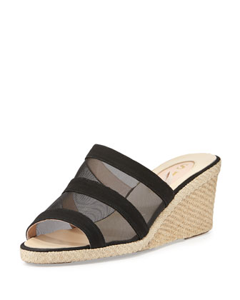 Suzi Mesh Espadrille Wedge Slide, Black