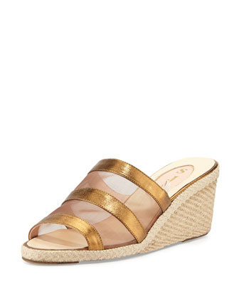 Suzi Mesh Espadrille Wedge Slide, Bronze