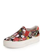 Jungle Floral-Print Slip-On Sneaker