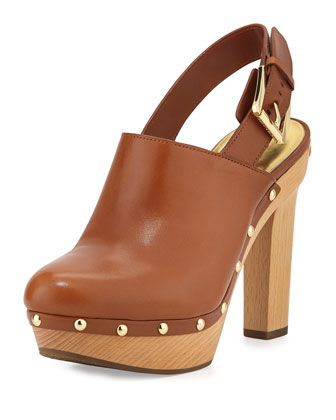 Beatrice Leather Slingback Mule, Luggage