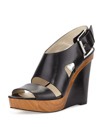 Carla Platform Wedge Sandal, Black