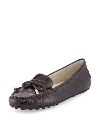Daisy Crocodile-Embossed Leather Moccasin Loafer, Dark Chocolate