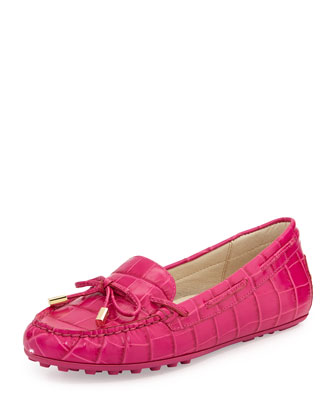 Daisy Crocodile-Embossed Leather Moccasin Loafer, Fuchsia