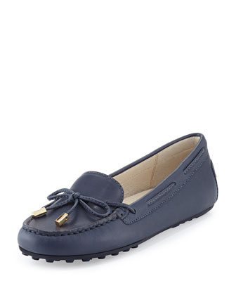 Daisy Leather Moccasin Loafer, Navy