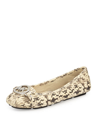 Daisy Snake-Embossed Leather Moccasin Loafer, Natural