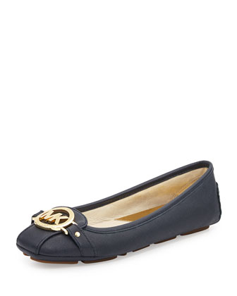 Fulton Saffiano Leather Moccasin, Navy
