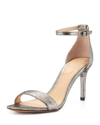 Keri Crackled Metallic Sandal, Pewter
