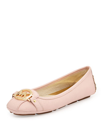Fulton Saffiano Leather Moccasin, Blossom