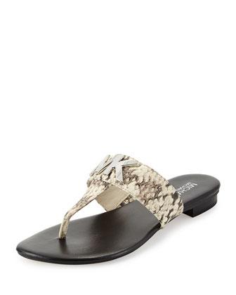 Hayley MK Snake-Print Thong Sandal