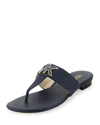 Hayley MK Leather Thong Sandal, Navy