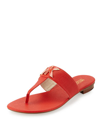Hayley MK Leather Thong Sandal, Mandarin