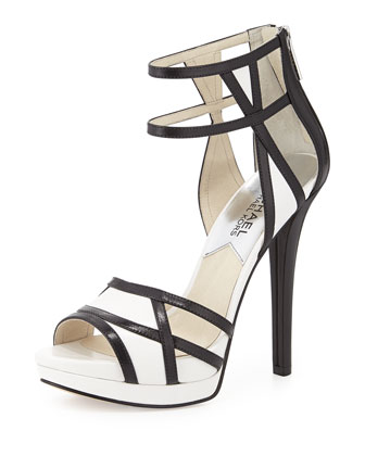 Jaida Back-Zip Platform Sandal, Black/Optic White