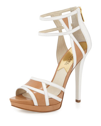 Jaida Back-Zip Platform Sandal, Optic White/Suntan