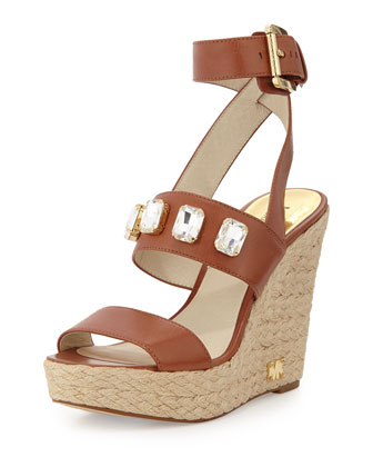 Lynn Crystal Ankle-Wrap Wedge, Luggage