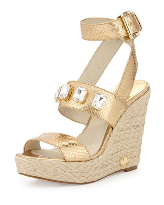 Lynn Crystal Ankle-Wrap Wedge, Pale Gold