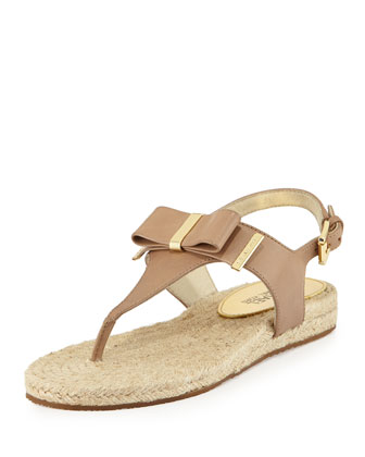 Meg Leather Bow Thong Sandal, Dark Khaki
