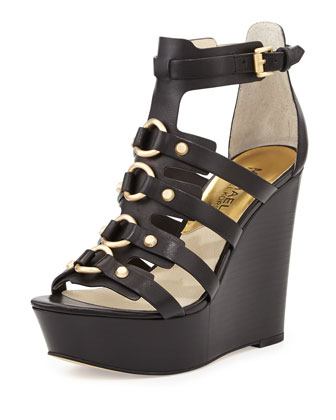 Nadine Studded Gladiator Wedge, Black