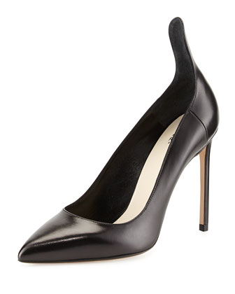 Leather Raised Back Pump, Black