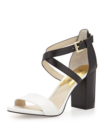 Nadja Cross-Strap City Sandal, Optic White/Black