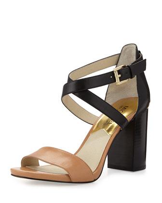 Nadja Cross-Strap City Sandal, Suntan/Black